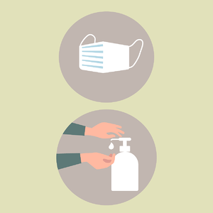 icons for a mask and handwashing